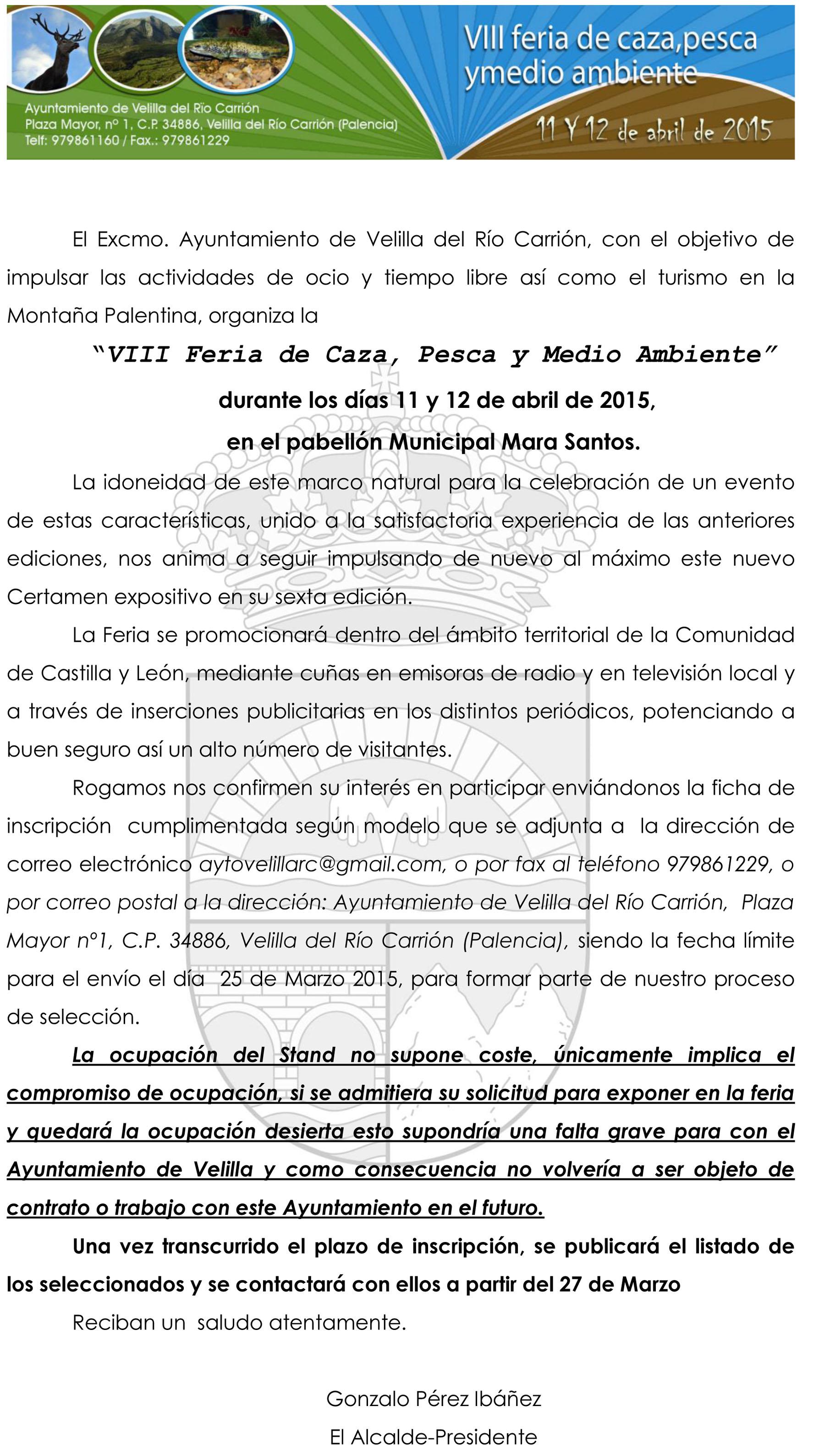 INSCRIPCIÓNES VIII FERIA DE CAZA, PESCA Y MEDIO AMBIENTE