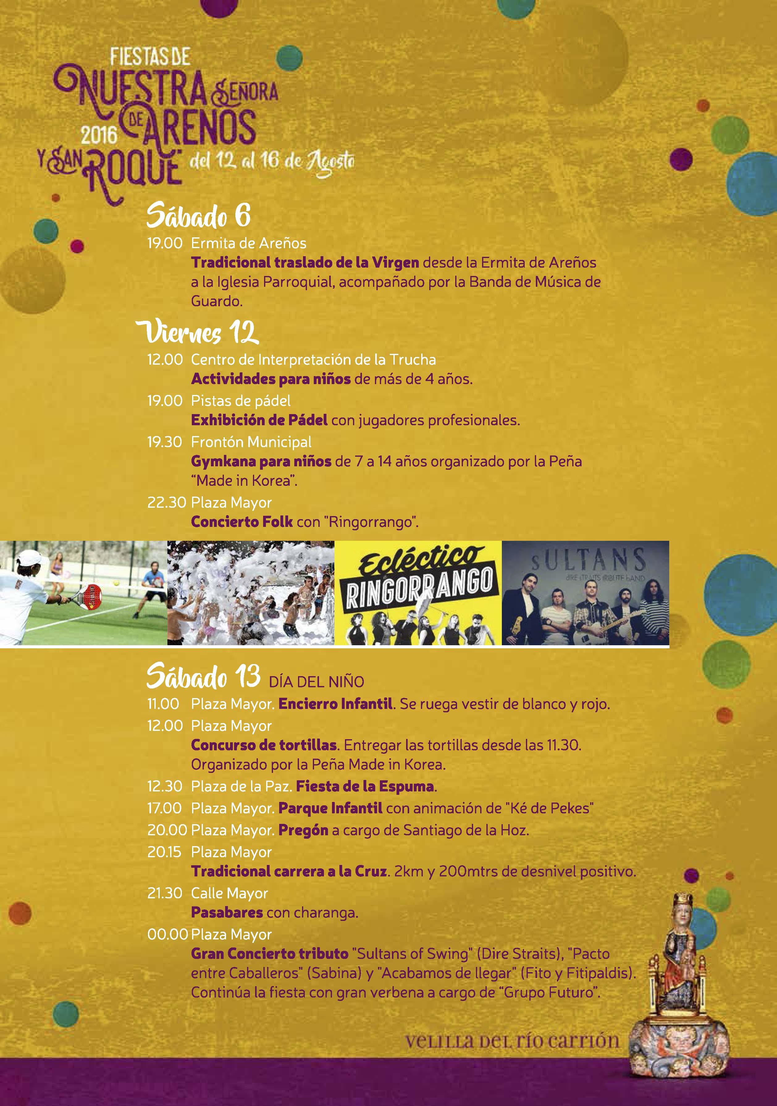 FIESTAS DE NTRA. SRA. DE AREÑOS Y SAN ROQUE 2016
